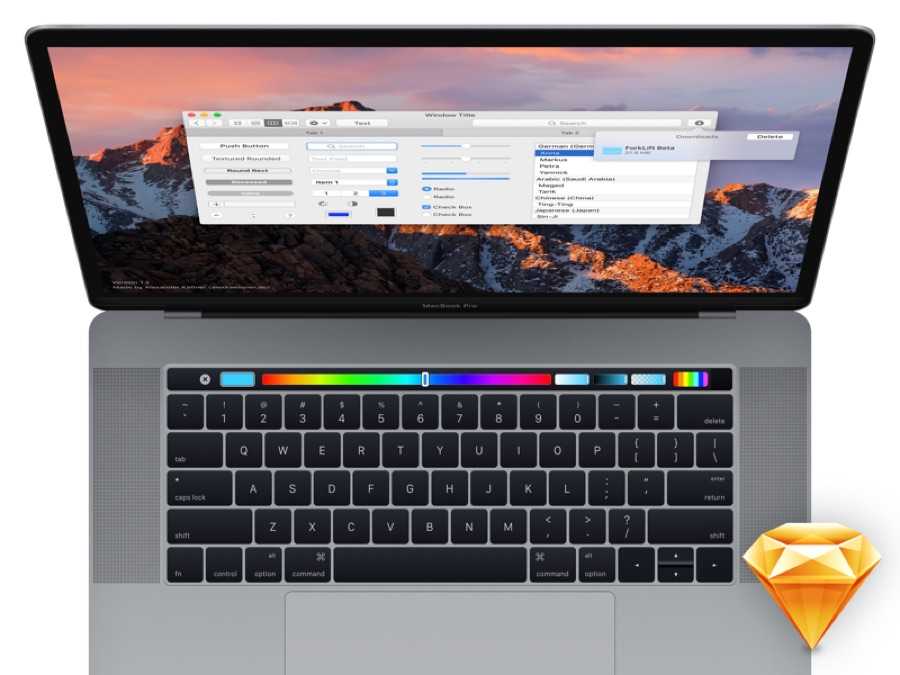 A color-focused Touch Bar example in Sketch