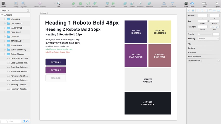 Creating Style Guides in Sketch