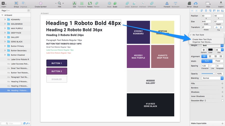 Creating Shared Styles in Sketch