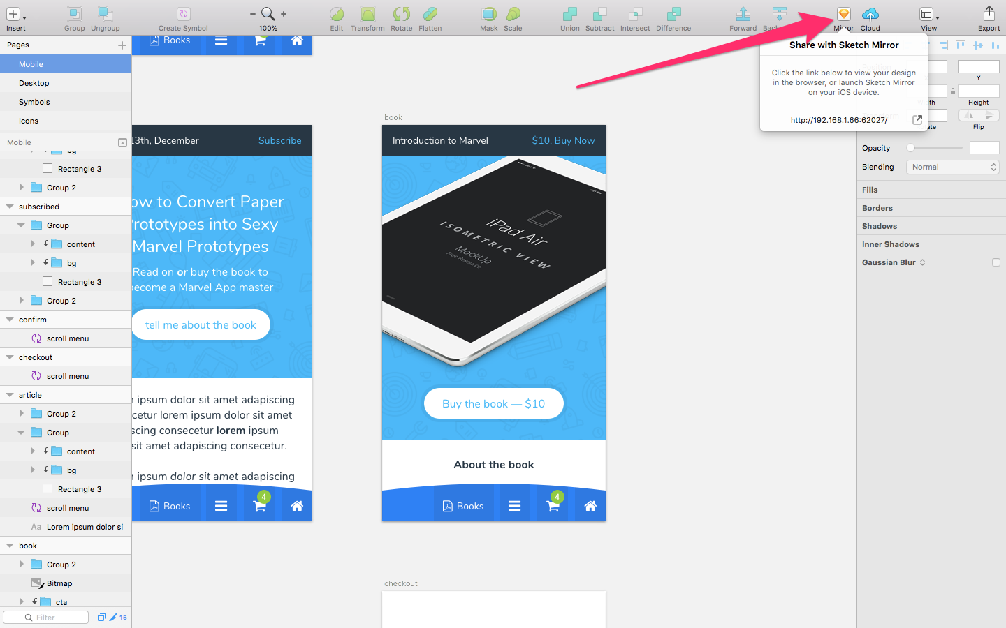 Connecting to Sketch Mirror