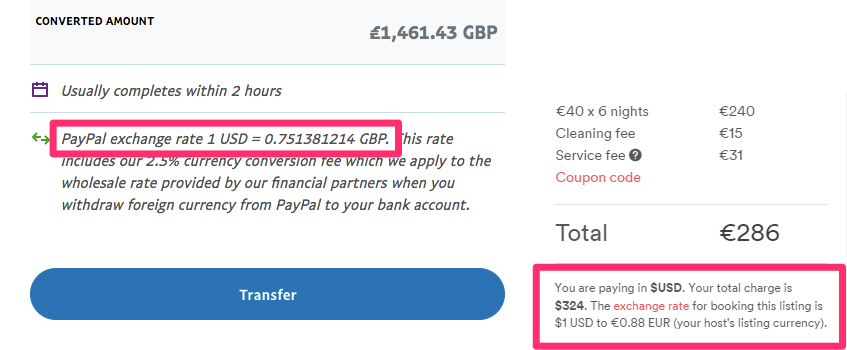 Hidden fees and exchange rates