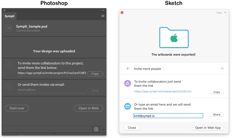 After exporting your artboards, you can invite collaborators directly in Photoshop and Sketch