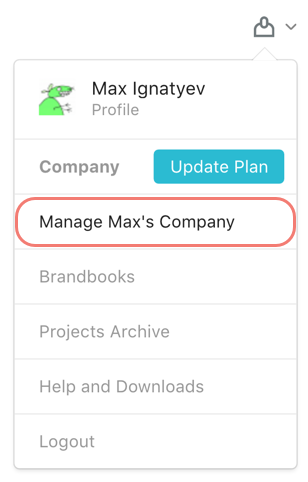 Manage Company option in the menu