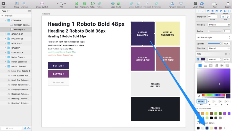 Saving Document Colours in Sketch