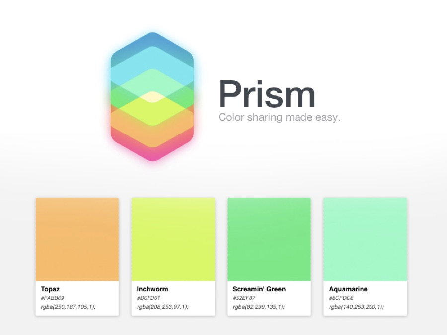 Prism for creating colour spreads
