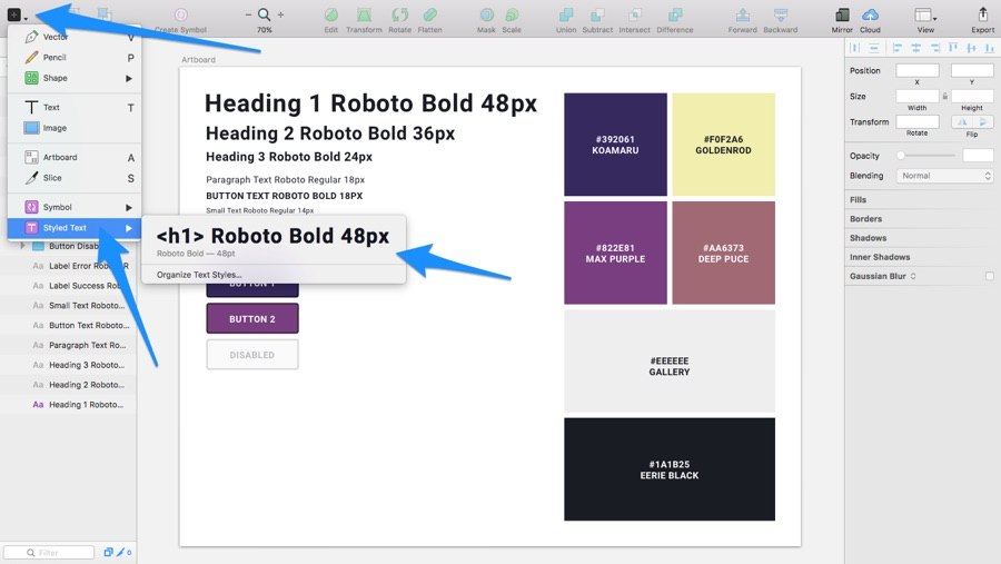 Inserting Shared Styles in Sketch
