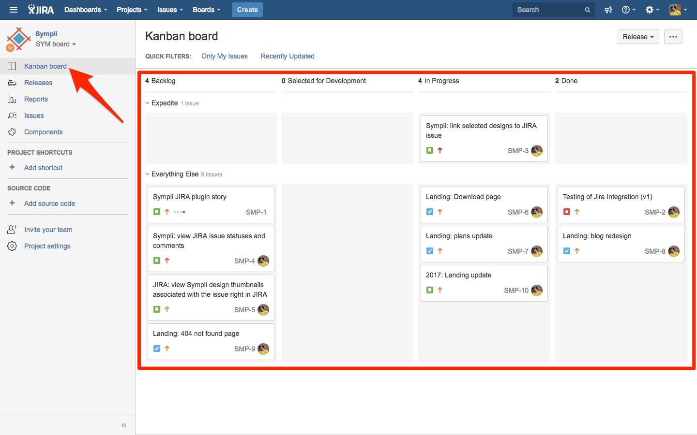 Kanban-style board