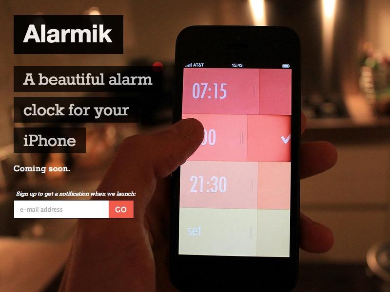 Alarmik, clear and direct CTA