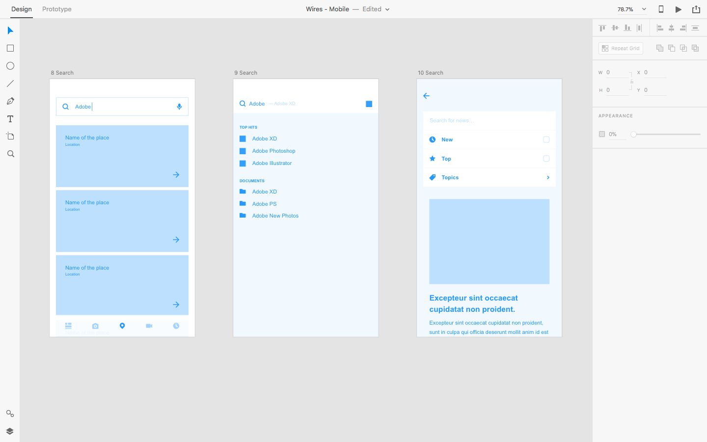 Creating a wireframing